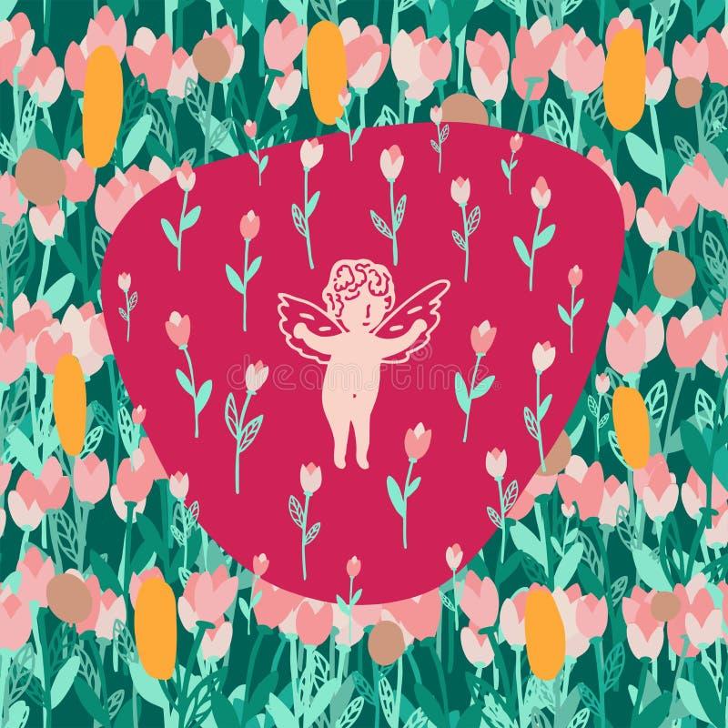 Teste padrão sem emenda com tulipas e anjo do ramalhete ilustração royalty free