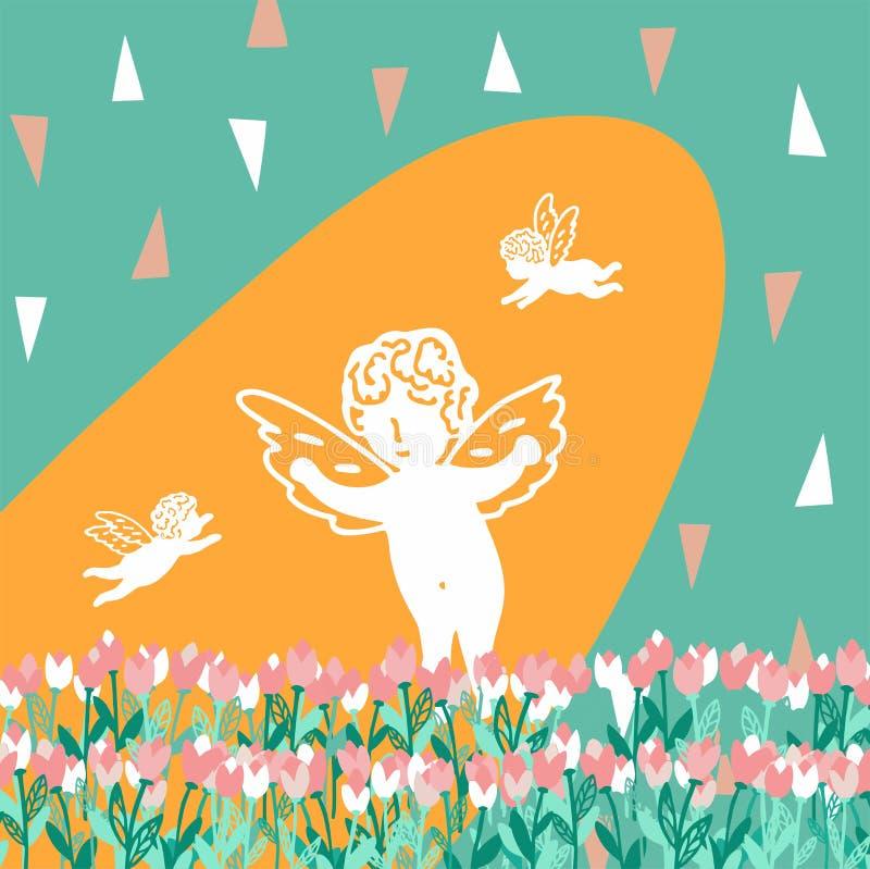 Teste padrão sem emenda com tulipas e anjos do ramalhete ilustração royalty free