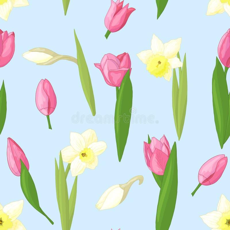 Teste padrão sem emenda com tulipas e narcisos amarelos ilustração stock