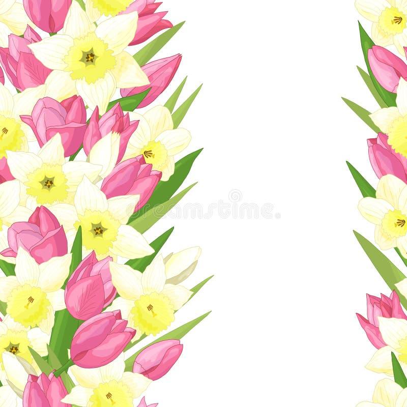 Teste padrão sem emenda com tulipas e narcisos amarelos ilustração royalty free