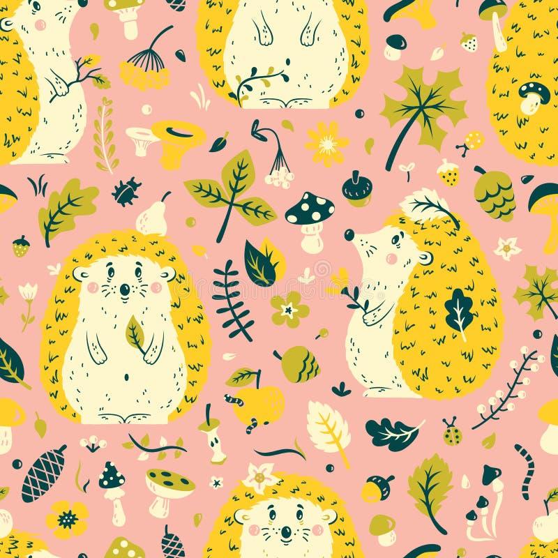 Teste padrão sem emenda com um ouriço bonito entre as folhas, os cones, as bagas, as flores e os cogumelos ilustração royalty free
