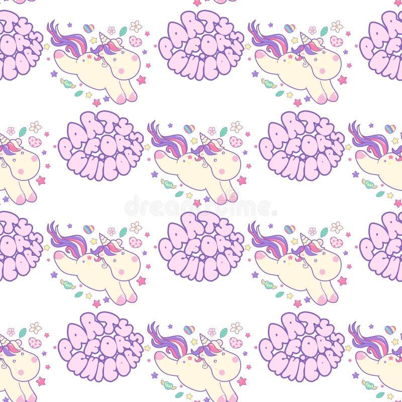 Teste padrão sem emenda com unicórnios Partido da rotulação para unicórnios Unicórnio bonito do kawaii com elementos mágicos Veto ilustração stock