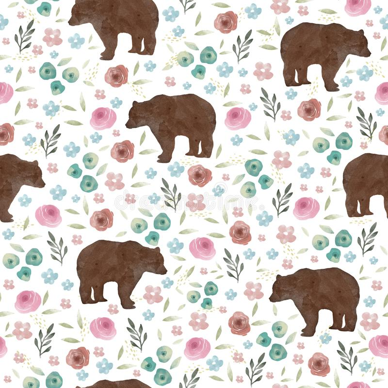 Teste padrão sem emenda com ursos bonitos e flores imagem de stock royalty free