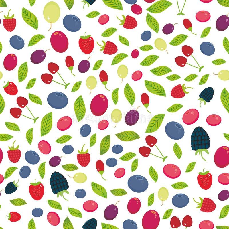 Teste padrão sem emenda com a uva de Goji da airela do arando de Cherry Strawberry Raspberry Blackberry Blueberry isolada no fund ilustração stock