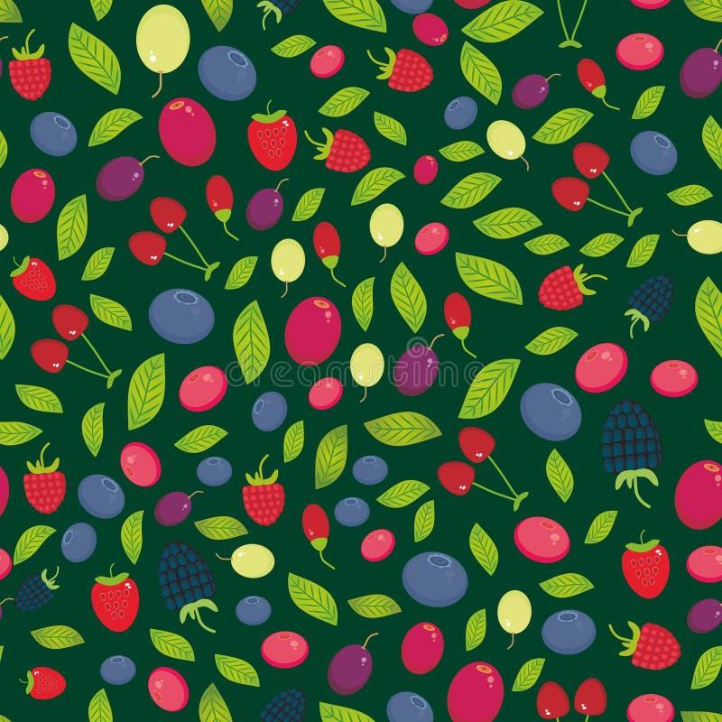 Teste padrão sem emenda com a uva de Goji da airela do arando de Cherry Strawberry Raspberry Blackberry Blueberry na obscuridade  ilustração royalty free