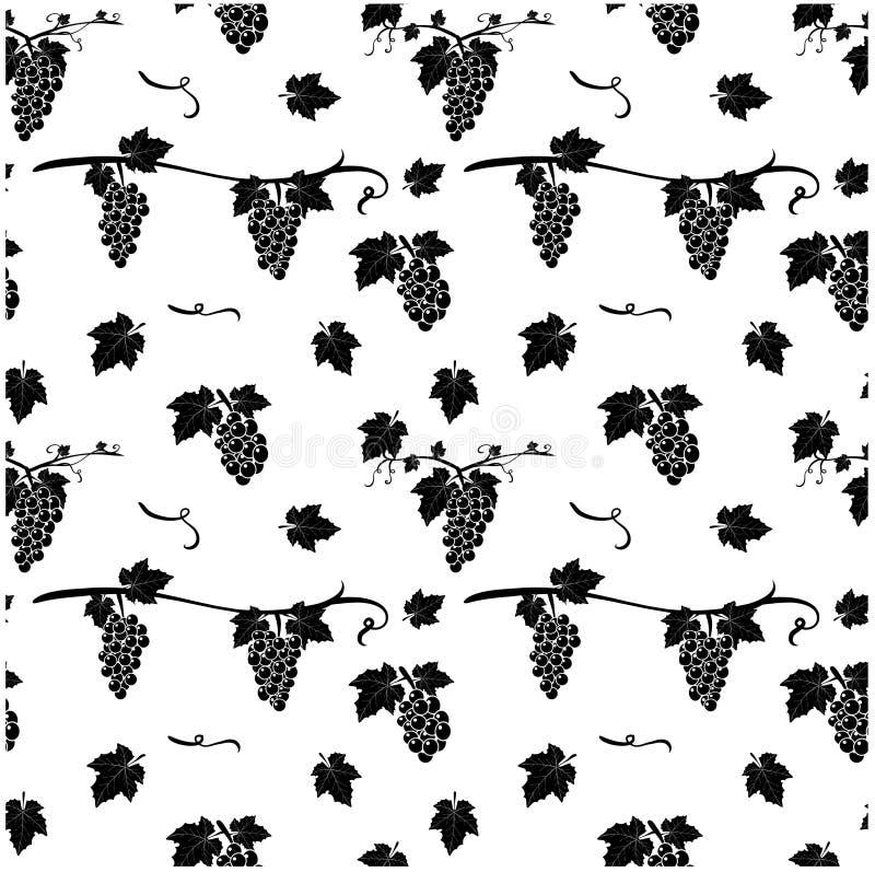 Teste padrão sem emenda com a uva no fundo branco Illustra do vetor fotos de stock