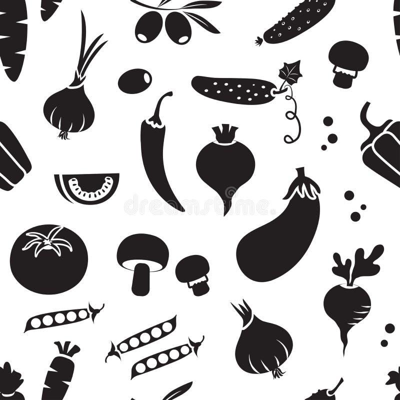 Teste padrão sem emenda com vegetais diferentes, projeto preto e branco Vetor ilustração do vetor