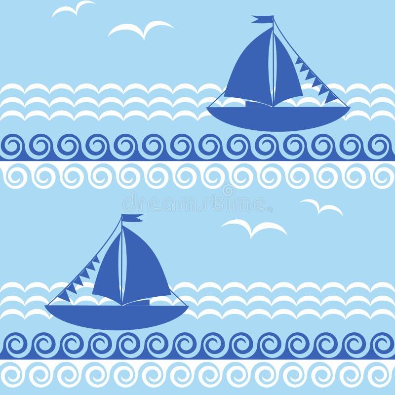Teste padrão sem emenda com veleiro e ondas ilustração stock