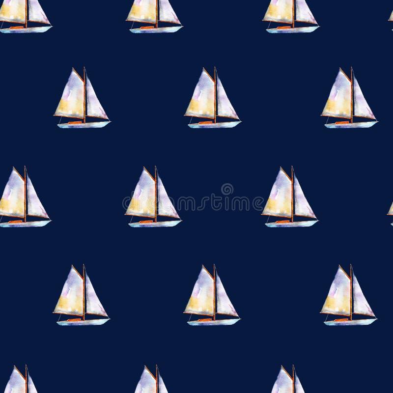 Teste padrão sem emenda com veleiros, fundo desenhado à mão brilhante da aquarela ilustração royalty free