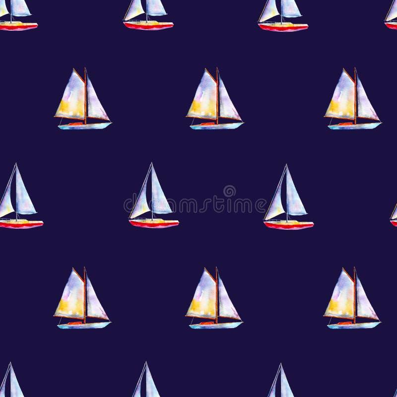 Teste padrão sem emenda com veleiros, fundo desenhado à mão brilhante da aquarela ilustração stock