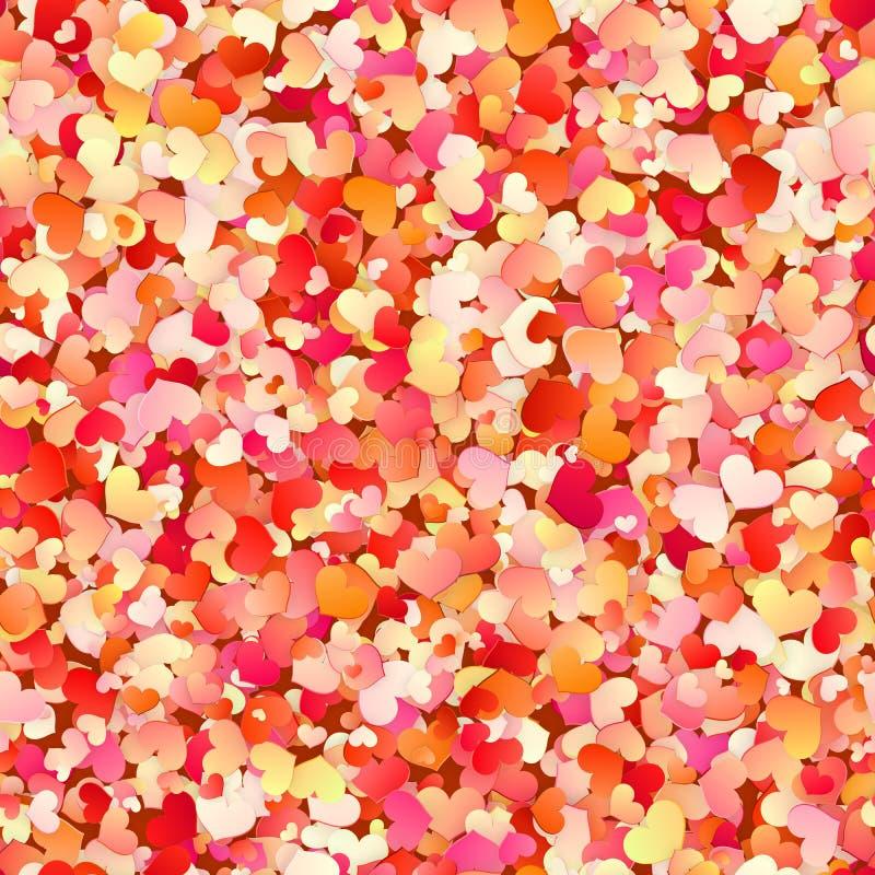Teste padrão sem emenda com vermelho, rosa do dia de Valentim, corações pequenos pasteis Eps 10 ilustração royalty free