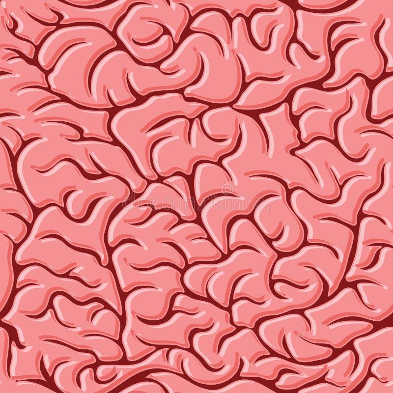 Teste padrão sem emenda com vetor dos cérebros ilustração stock