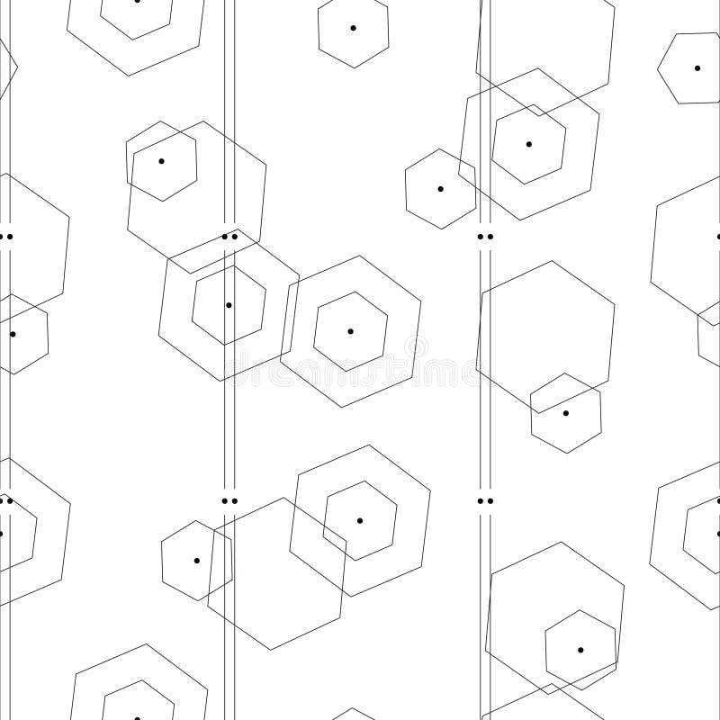 Teste padrão sem emenda com vetor geométrico abstrato das formas no fundo branco ilustração do vetor