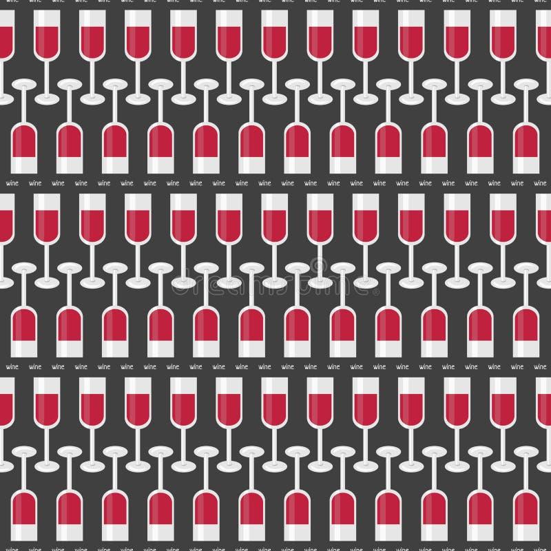 Teste padrão sem emenda com vidros do vinho tinto e do vinho da palavra Vetor ilustração royalty free