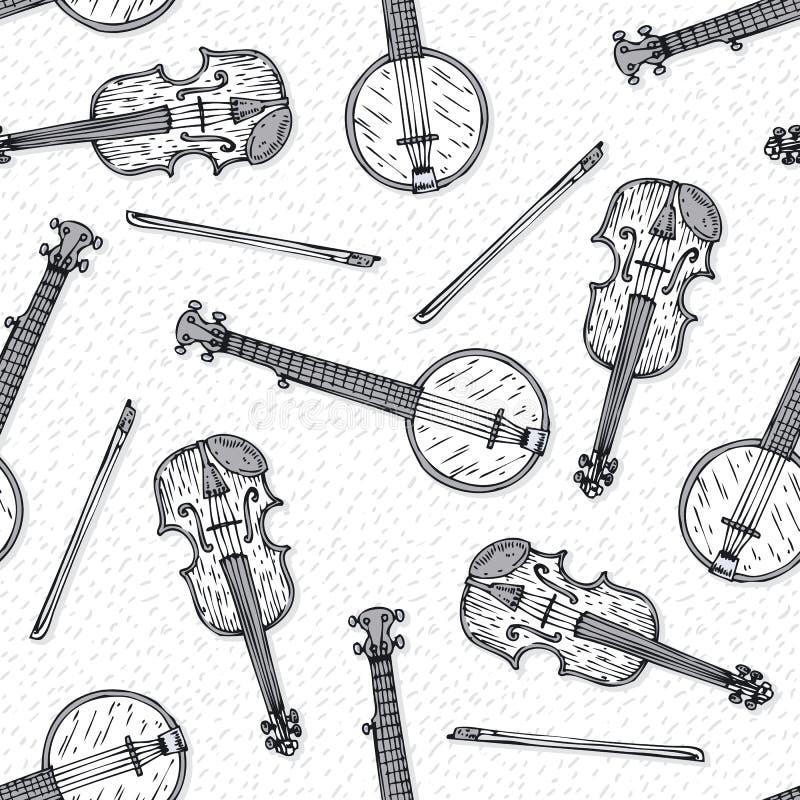 Teste padrão sem emenda com violino e o banjo de madeira ilustração stock
