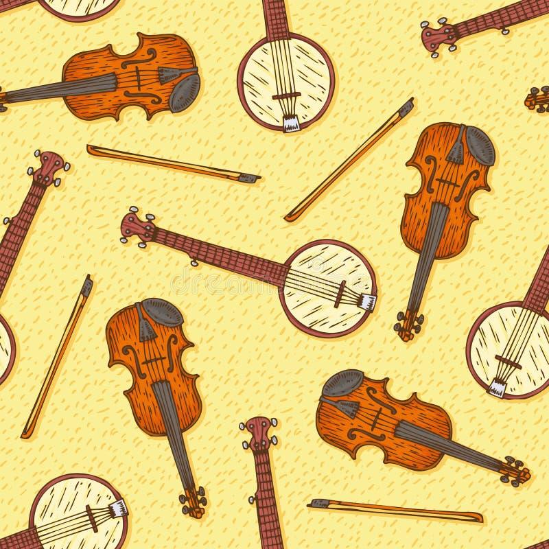 Teste padrão sem emenda com violino e o banjo de madeira ilustração do vetor