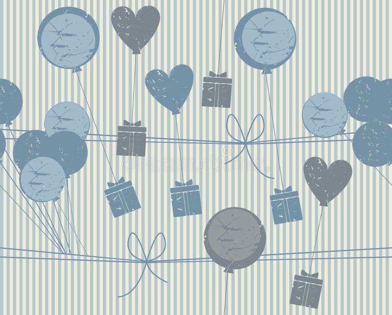 Teste padrão sem emenda comemorativo com presentes, balões e corações ilustração stock