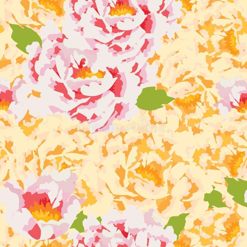Teste padrão sem emenda completo da flor da peônia ilustração stock