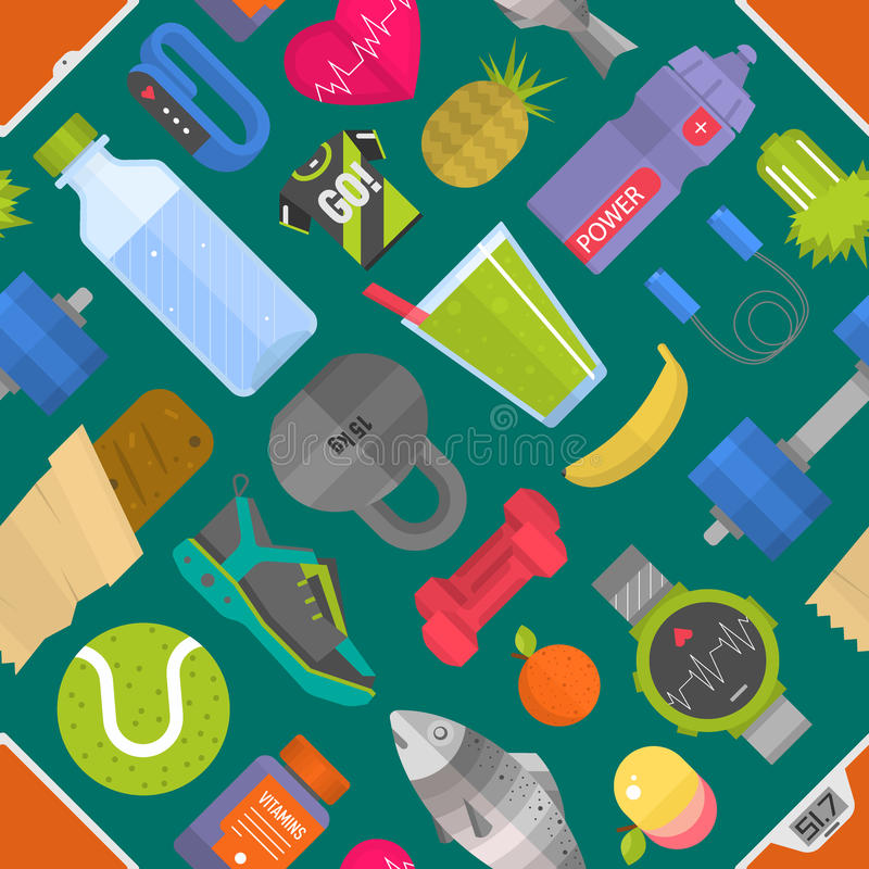 Teste padrão sem emenda composto dos ícones que representam a ilustração saudável do vetor do fundo do esporte do estilo de vida ilustração do vetor