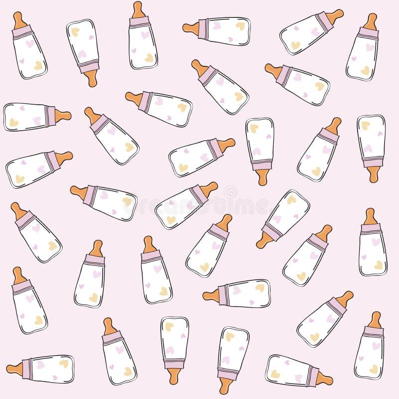 Teste padrão sem emenda cor-de-rosa com garrafas de leite ilustração royalty free