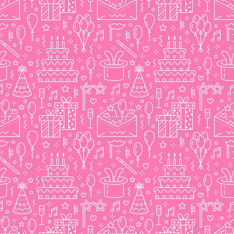 Teste padrão sem emenda cor-de-rosa da festa de anos, linha ilustração lisa Vector ícones da agência do evento, organização do ca ilustração do vetor