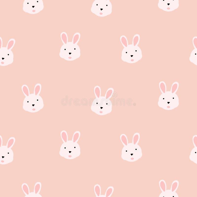 Teste padrão sem emenda cor-de-rosa de menina do vetor do coelho bonito ilustração royalty free