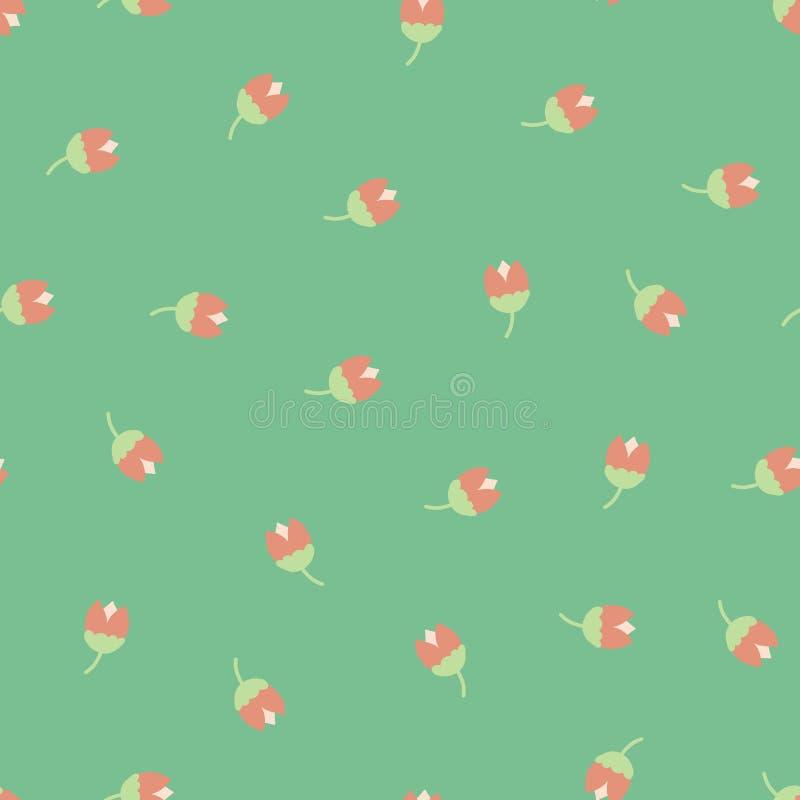Teste padrão sem emenda cor-de-rosa verde dispersado do vetor das flores ditsy Fundo de repeti??o floral popular pequeno Tulipas  ilustração do vetor