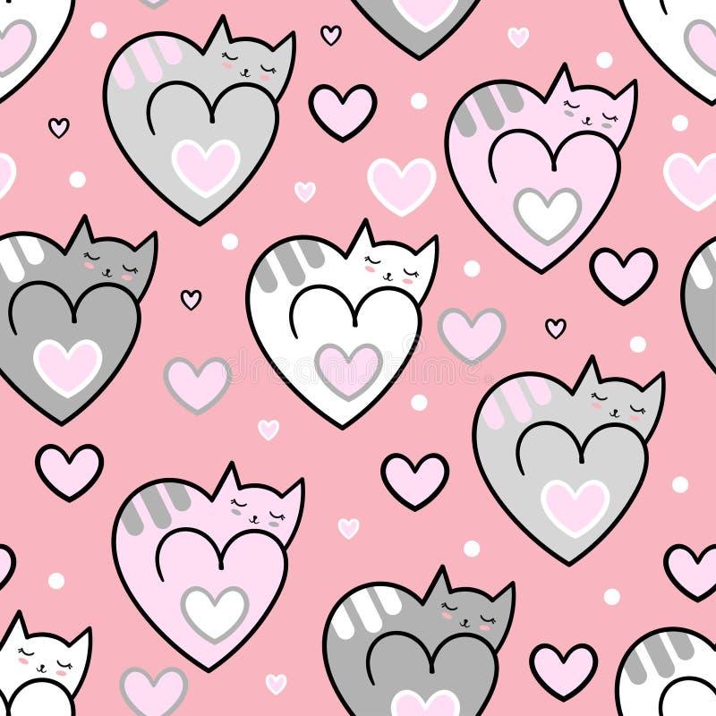 Teste padrão sem emenda Corações dos gatos em um fundo cor-de-rosa Vetor ilustração stock