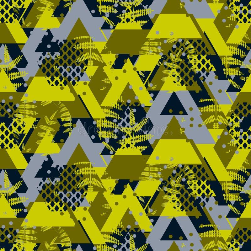 Teste padrão sem emenda corajoso do vetor da samambaia do camo do triângulo ilustração do vetor