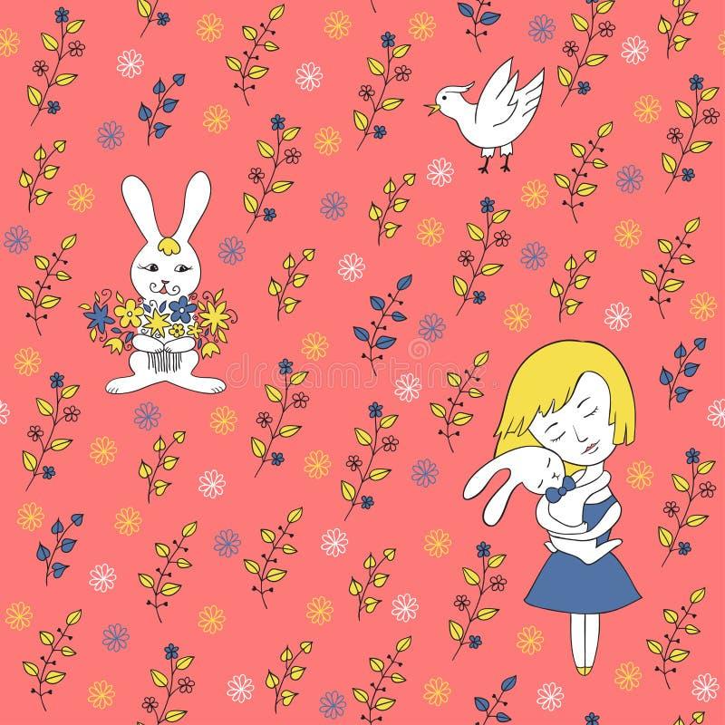 Teste padrão sem emenda coral com menina, galinha e coelho ilustração do vetor