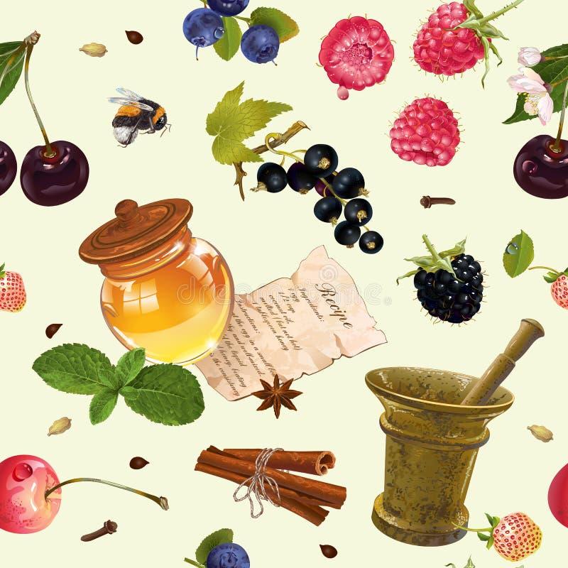 Teste padrão sem emenda cosmético do fruto ilustração stock