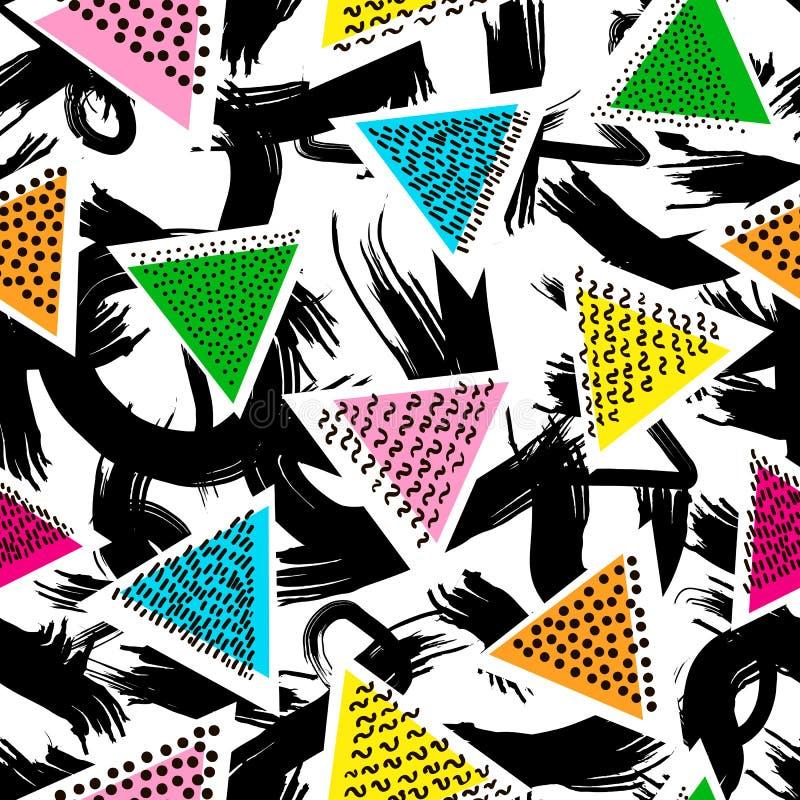 Teste padrão sem emenda creativo Elementos abstratos e triang colorido ilustração stock