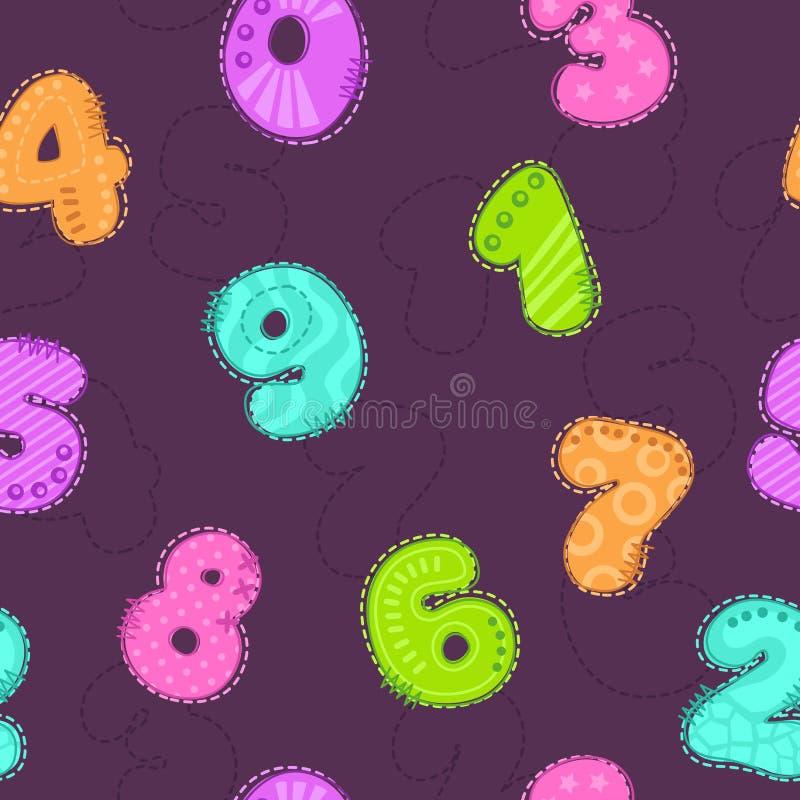 Teste padrão sem emenda criançola bonito com números coloridos ilustração stock