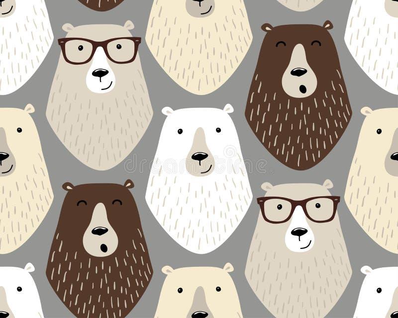 Teste padrão sem emenda criançola bonito com personagens de banda desenhada de ursos e de vidros diferentes do olho ilustração royalty free