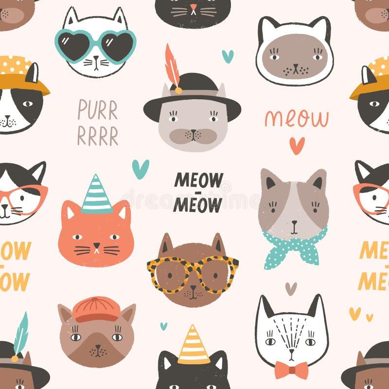 Teste padrão sem emenda criançola com as caras ou as cabeças adoráveis do gato que vestem vidros, óculos de sol e chapéus Context ilustração do vetor