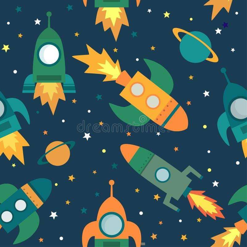 Teste padrão sem emenda criançola com nave espacial, estrelas, planetas e estrelas ilustração royalty free