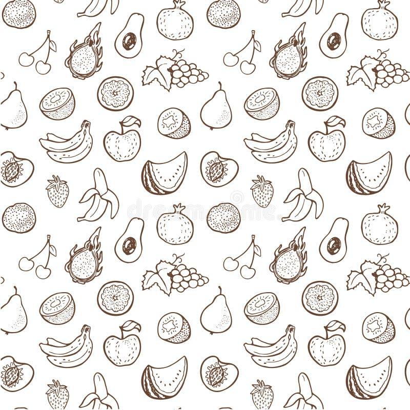 Teste padrão sem emenda criativo com frutos tirados mão foto de stock royalty free