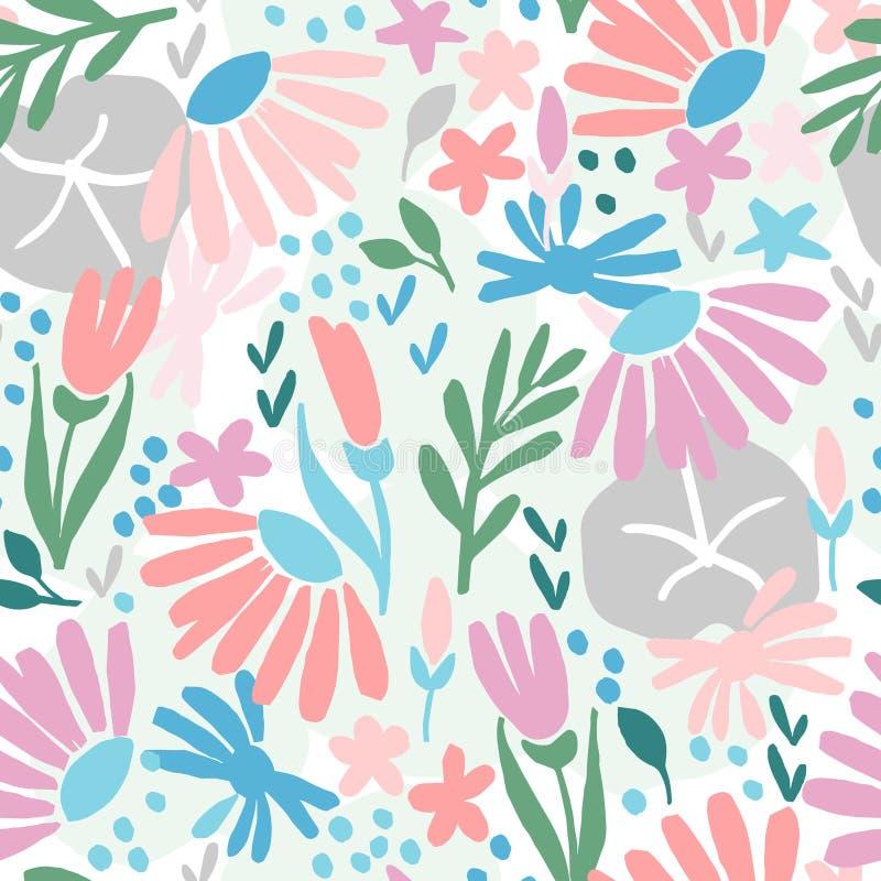 Teste padrão sem emenda criativo com uma flor grosseira pintada ilustração royalty free