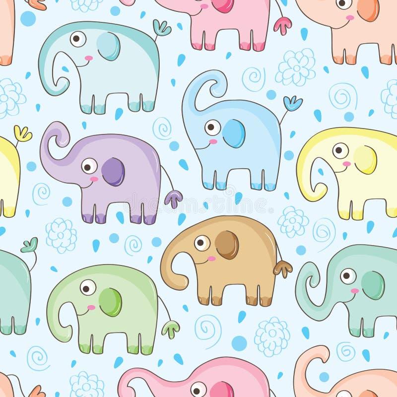 Teste padrão sem emenda da água do elefante ilustração do vetor