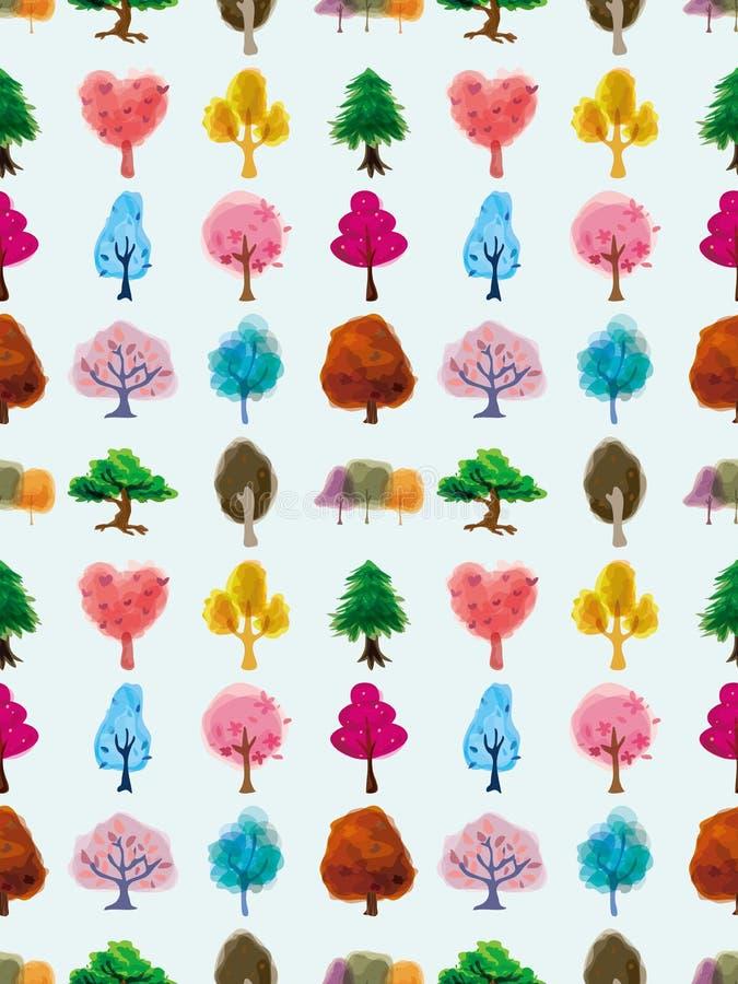 Teste padrão sem emenda da árvore ilustração stock