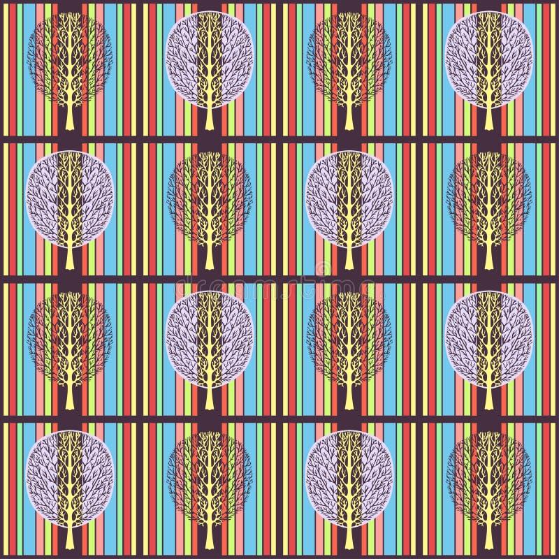 Teste padrão sem emenda da árvore abstrata, ilustração do vetor, desenho colorido do vintage Ramos ornamentado e folha roxa da co ilustração stock