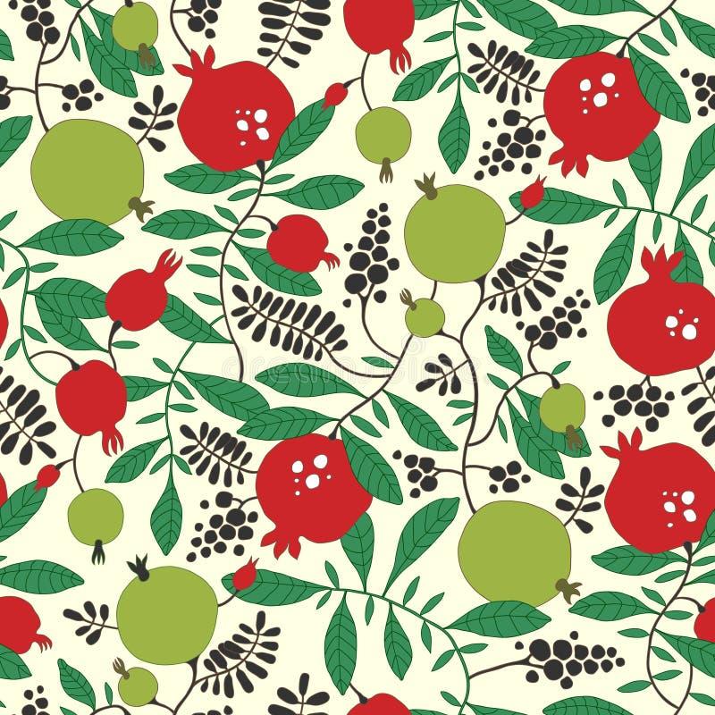 Teste padrão sem emenda da árvore da romã e de maçã ilustração do vetor