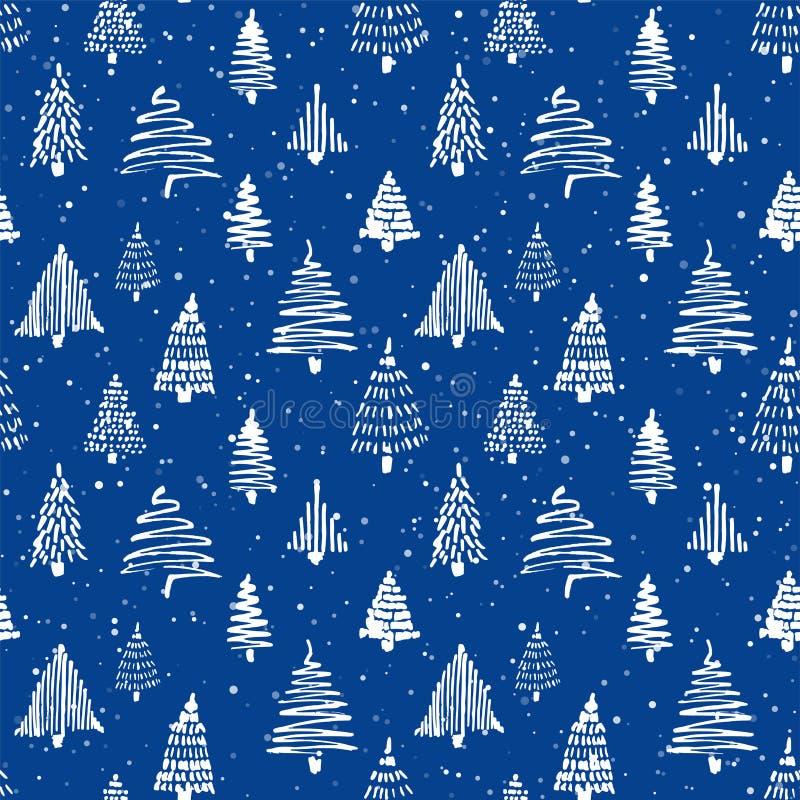 Teste padrão sem emenda da árvore de Christmass Desenho de esboço tirado mão da garatuja com tinta ilustração do vetor