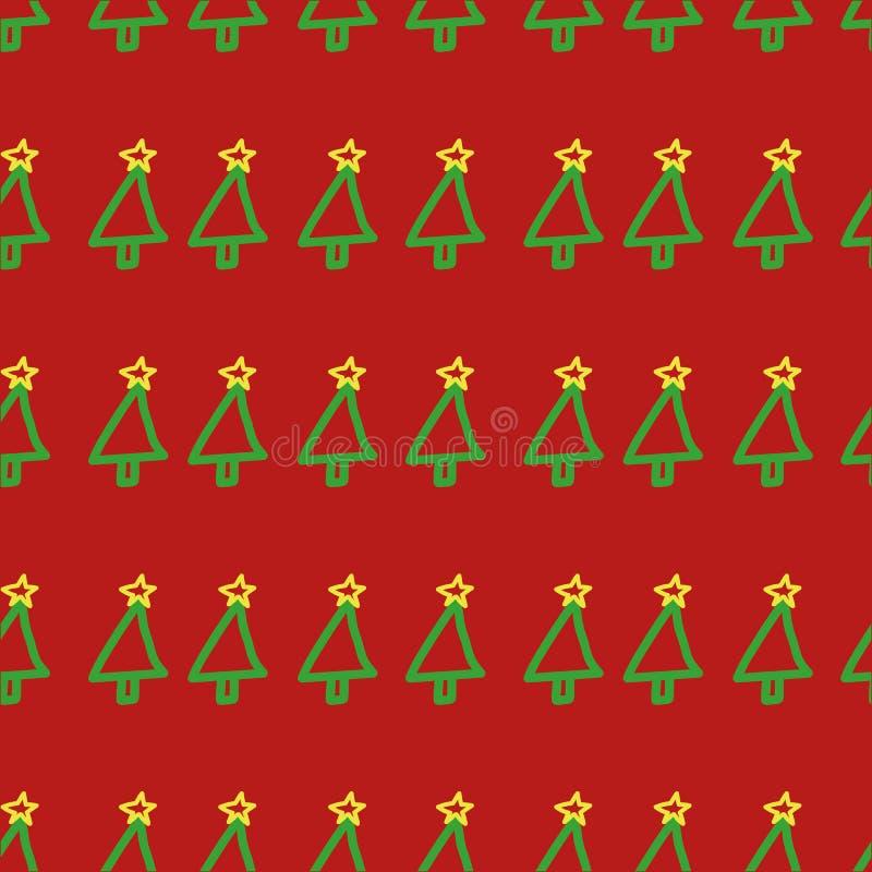 Teste padrão sem emenda da árvore de Natal do vetor Entregue tirado, bonito, criançola, símbolo do feriado no fundo vermelho imagem de stock