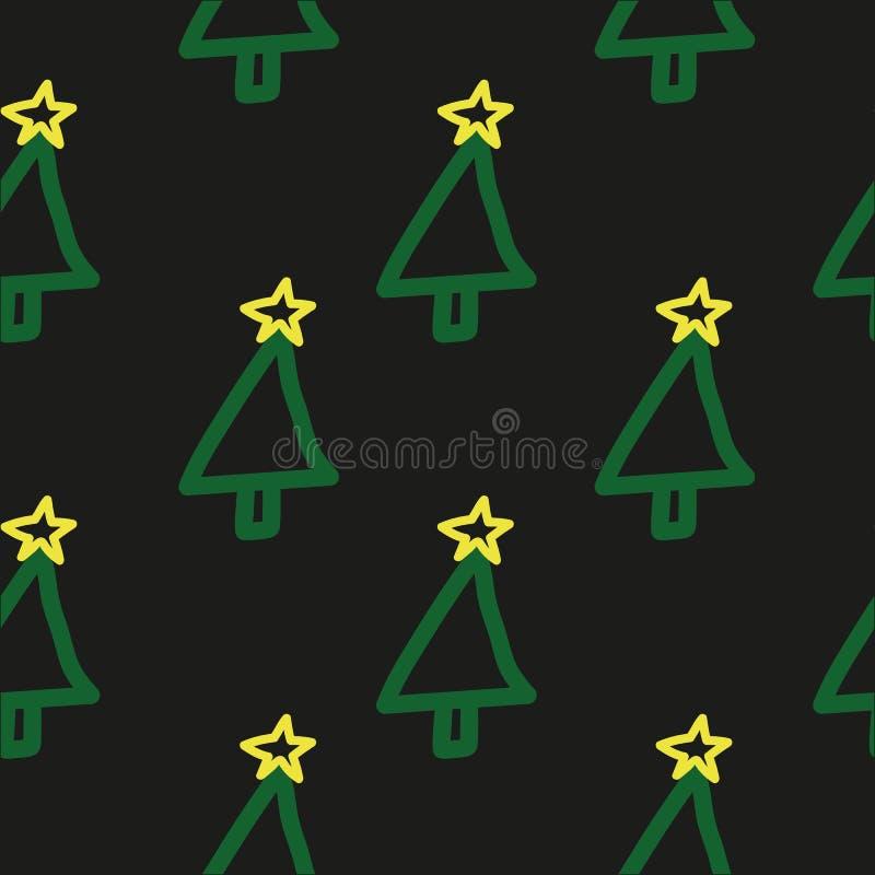 Teste padrão sem emenda da árvore de Natal do vetor Entregue tirado, bonito, criançola, símbolo do ` s do feriado no fundo escuro foto de stock royalty free