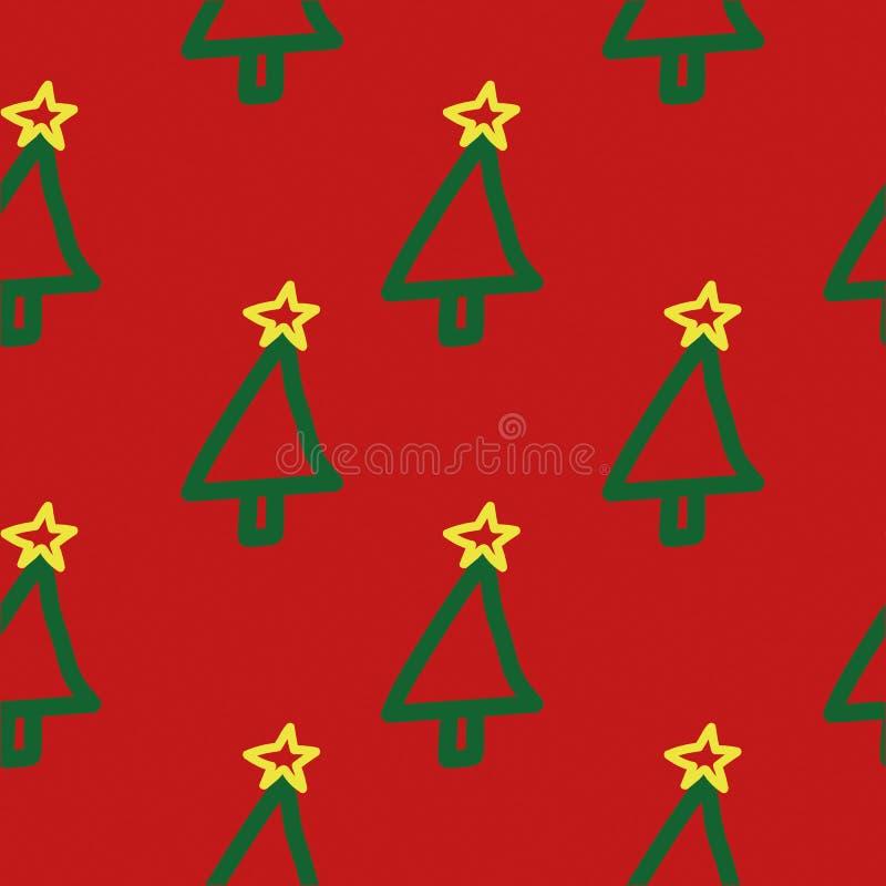 Teste padrão sem emenda da árvore de Natal Entregue tirado, bonito, criançola, símbolo do feriado no fundo vermelho imagem de stock royalty free