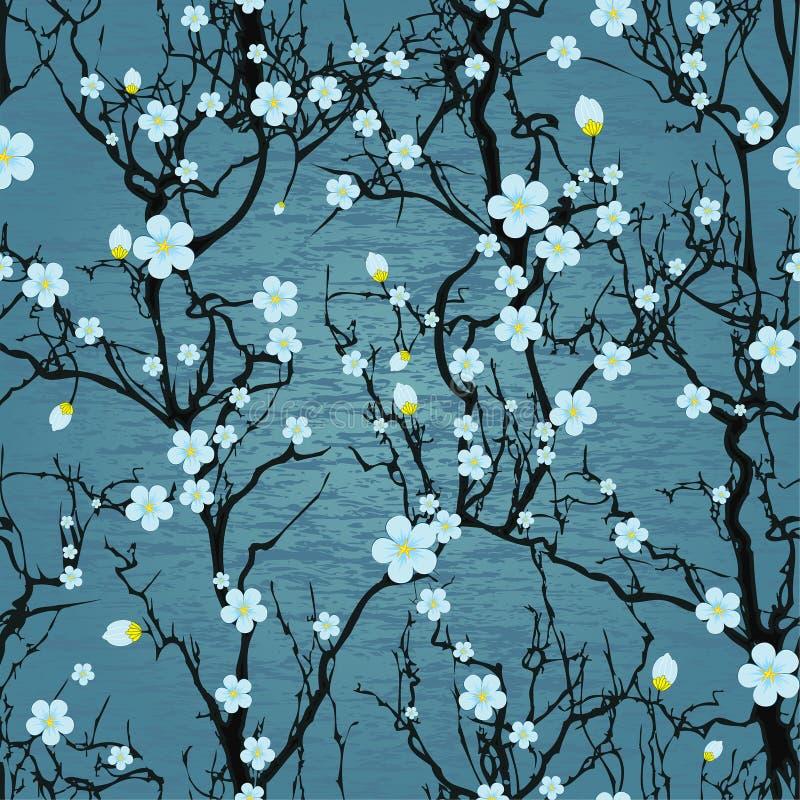 Teste padrão sem emenda da árvore. Flor de cerejeira japonesa ilustração stock