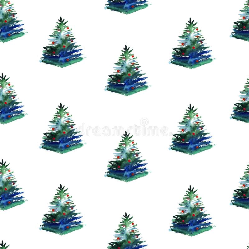 Teste padrão sem emenda da aquarela da árvore de Natal no fundo branco ilustração royalty free