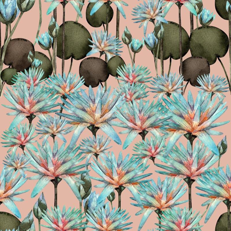 Teste padrão sem emenda da aquarela bonita de Lotus ilustração stock
