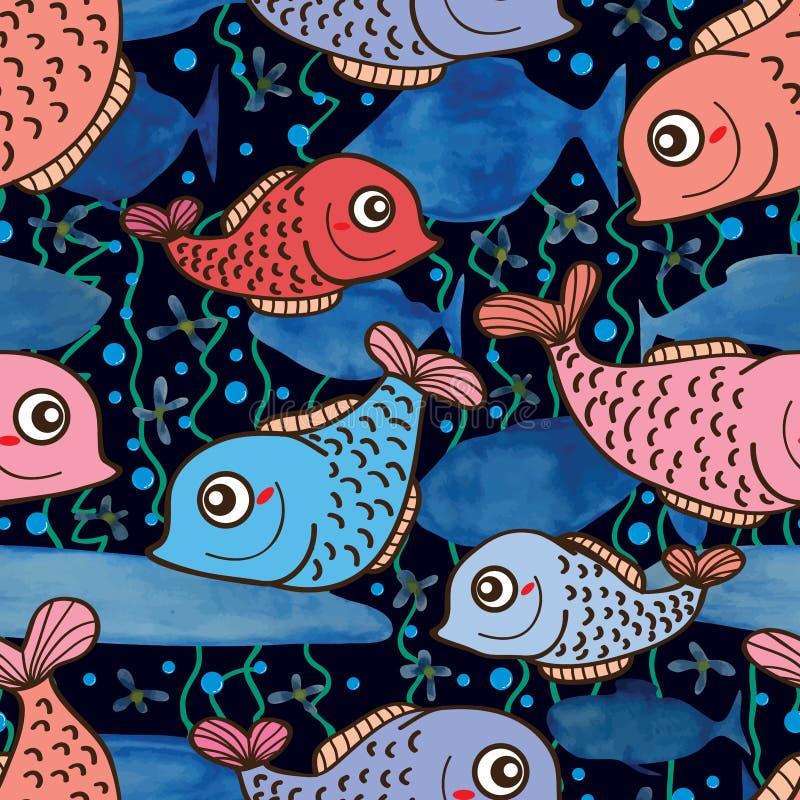 Teste padrão sem emenda da aquarela bonito dos peixes ilustração do vetor